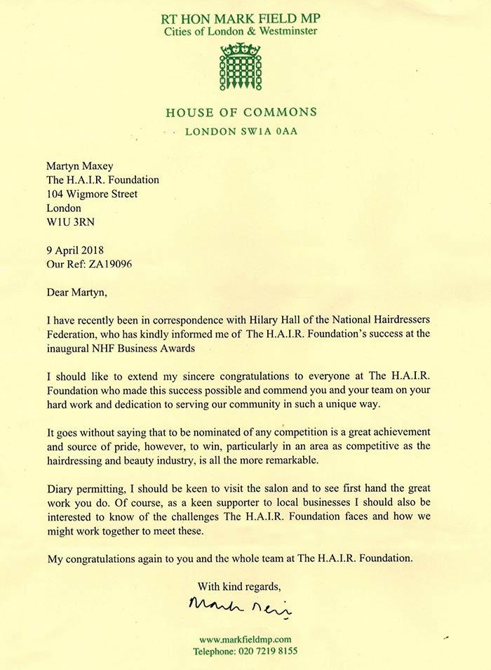MP Mark Field Letter