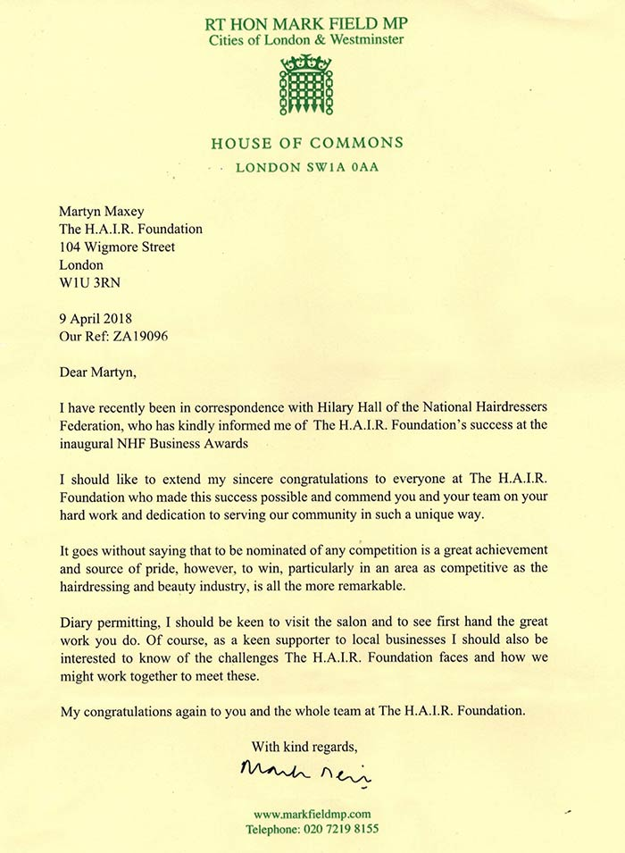 MP Mark Field Letter